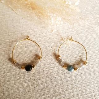 Ginandger Bijoux - Boucles d'oreilles Chrystelle Labradorite - Boucles d'oreille - Acier