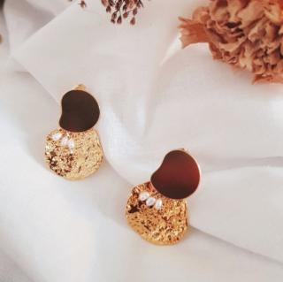 GISEL B - Boucles médailles Rosa - Boucles d'oreille - Plaqué Or