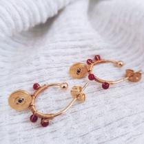GISEL B - Boucles Red agate Janis - Boucles d'oreille - Plaqué Or