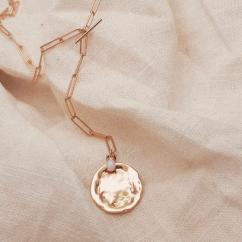 GISEL B - Collier long médaille opale - Collier - Plaqué Or