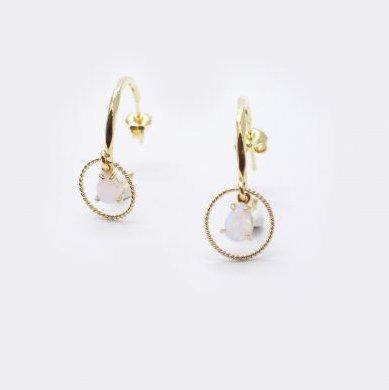 GISEL B - Créoles gm opale - Boucles d'oreille - Or