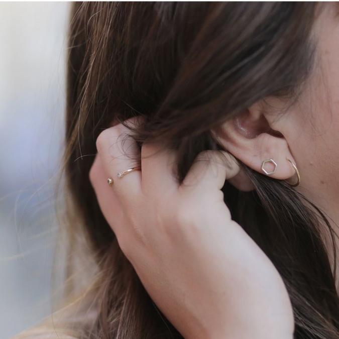 GISEL B - Puces Alvéoles pm - Boucles d'oreille - Plaqué Or