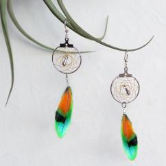 Haliotis Créations - Boucles d'oreilles Rêves Dorés - Boucles d'oreille - plume