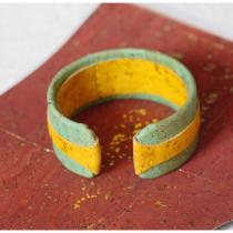 Haliotis Créations - Bracelet large en liège jaune et vert - Bracelet - 4668