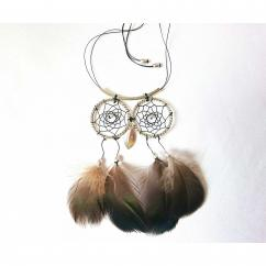 Haliotis Créations - Dreamcatcher hibou, plumes naturelles - Attrape-rêve