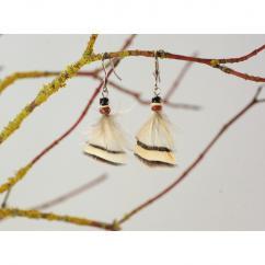 Haliotis Créations - Petites boucles d'oreilles Fly perdrix (2) - Boucles d'oreille - plume