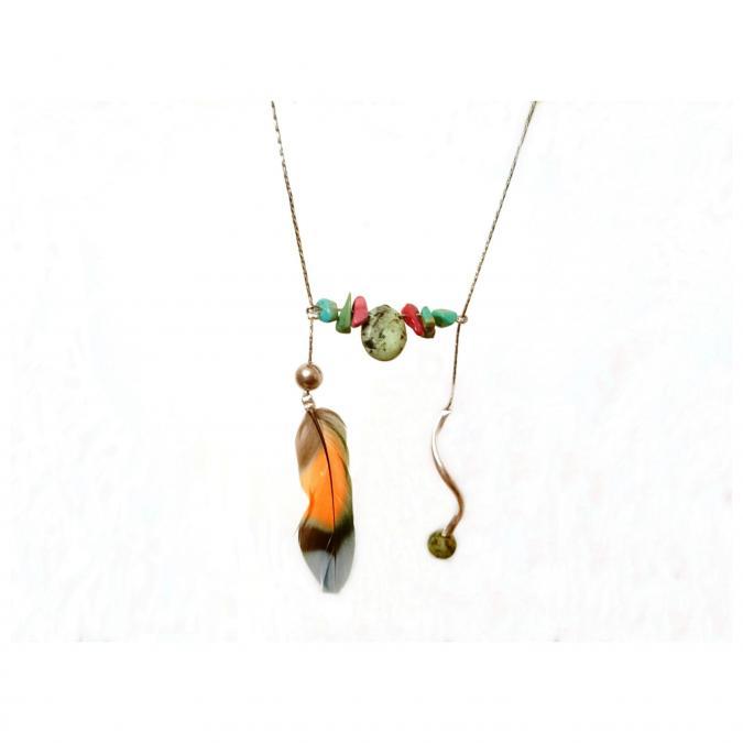Haliotis Créations - Sautoir Petra, pendentif en H, pierres de jaspe et turquoise, plume de perruche inséparable, chaîne en inox - Collier - inox