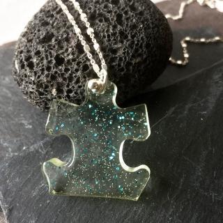 IF Créations - Collier puzzle, bijoux en résine epoxy transparente et argent 925 - Collier - Résine