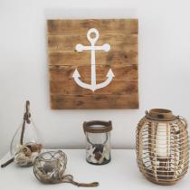 In The Wood For Love - Ancre de bateau peinte sur planche de bois de palette - Cadre -