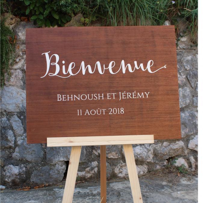 In The Wood For Love - Panneau d'accueil pour Mariage (copie) - Enseigne mariage