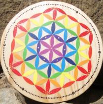 Indigo Créations - Fleur de Vie bois Chakras 13 cm - Fleur de vie