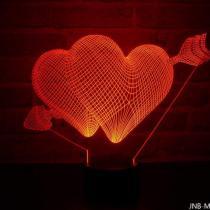 JNB-Maker Artisan Laseriste - Lampe Led Double Coeur 3D - Lampe de table - 4668ampoule(s)