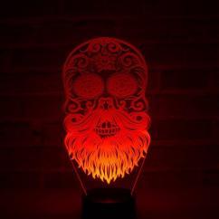 JNB-Maker Artisan Laseriste - Lampe Led Tête de Mort Mexicaine Barbue - Lampe de table - 4668ampoule(s)