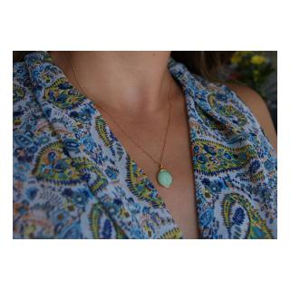Joséphine Point Barre - - Collier pendentif Chrysoprase - - Collier - Plaqué Or gold filled