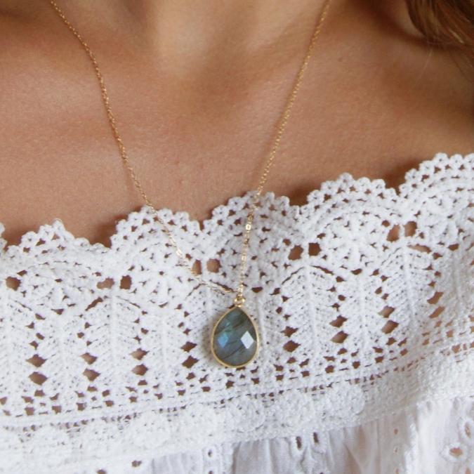 Joséphine Point Barre - - Collier pendentif Labradorite - - Collier - Plaqué Or gold filled