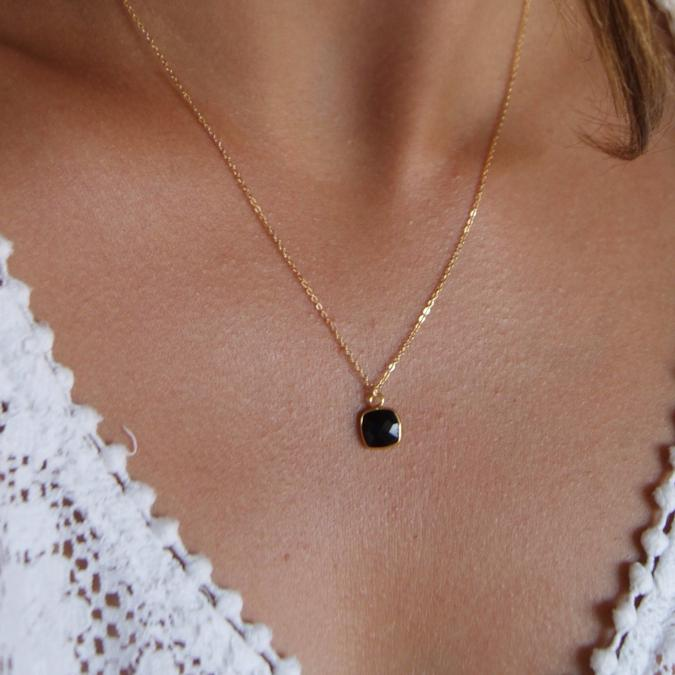 Joséphine Point Barre - - Collier Pendentif Onyx - - Collier - Plaqué Or gold filled