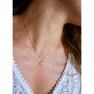 Joséphine Point Barre - - Collier pendentif Quartz Rose - - Collier - Plaqué Or gold filled