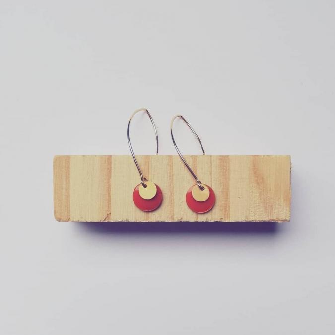 Judyte - Boucles MONA - Abricot - Boucles d'oreille - argent