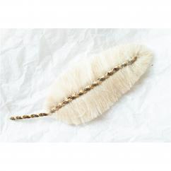 Jungle exquise - Barrette plume : Tourterelle dorée - ___Bijoux de corps - Textile