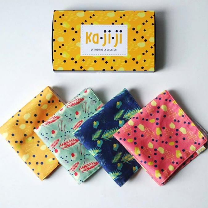 Ka.Ji.Ji - Pack de 3 mouchoirs en tissu BIO imprimé - jaune rose bleu - Mouchoir réutilisable