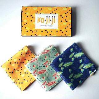 Ka.Ji.Ji - Pack de 3 mouchoirs en tissu BIO imprimé - jaune vert bleu - Mouchoir réutilisable