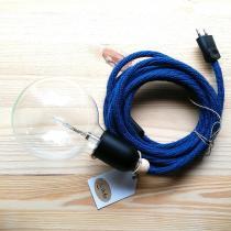 Karteko - Baladeuse en laine recyclée - Bleu Canard - Suspension - ampoule(s)