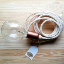 Karteko - Lampe baladeuse en laine recyclée  – Écrue cuivrée - Suspension - ampoule(s)