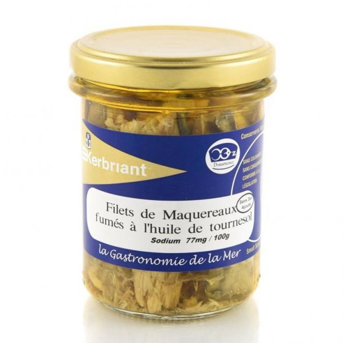 KERBRIANT - Filets de Maquereaux fumés huile de Tournesol (sans sel ajouté) - Conserve et soupe de poisson