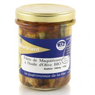 KERBRIANT - Filets de Maquereaux Huile d'Olive Bio (sans sel ajouté) - Conserve et soupe de poisson