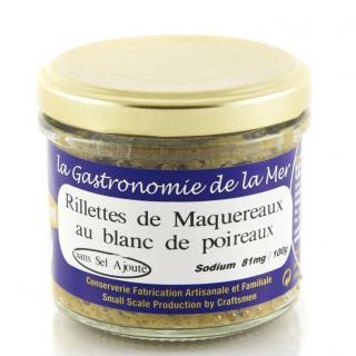 KERBRIANT - Rillettes de maquereaux au blanc de poireaux 90g - Sans Sel Ajouté - Conserve et soupe de poisson