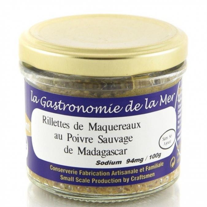 KERBRIANT - Rillettes de maquereaux au Poivre Sauvage de Madagascar 90g (Sans Sel Ajouté) - Conserve et soupe de poisson