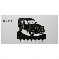 KISSKISSMETAL - Accroche clefs en metal 26 cm motif: 2CV fourgonnette Citroën - Accroche-clef