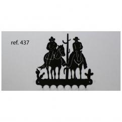 KISSKISSMETAL - Accroche clefs en metal 26 cm motif: balade à cheval - Accroche-clef