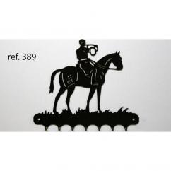 KISSKISSMETAL - Accroche clefs en metal 26 cm motif: sonneur à cheval - Accroche-clef