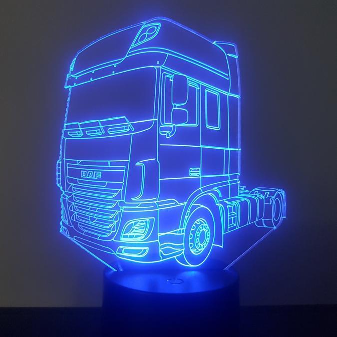 KISSKISSMETAL - CAMION DAF - Lampe d'ambiance 3D à leds, gravure laser sur acrylique, alimentation par piles ou câble USB - Lampe d'ambiance