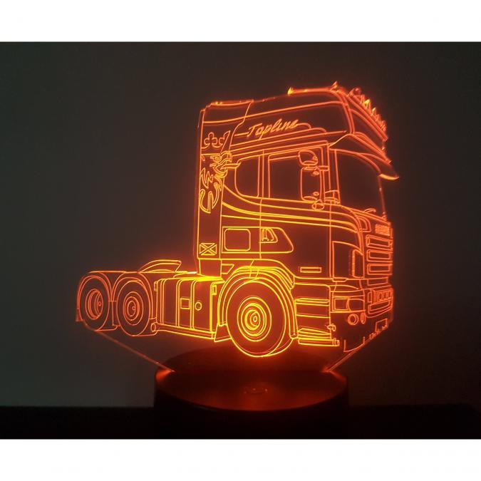 KISSKISSMETAL - CAMION SCANIA (2) - Lampe d'ambiance 3D à led, gravure laser sur acrylique, alimentation par piles ou câble USB - Lampe d'ambiance