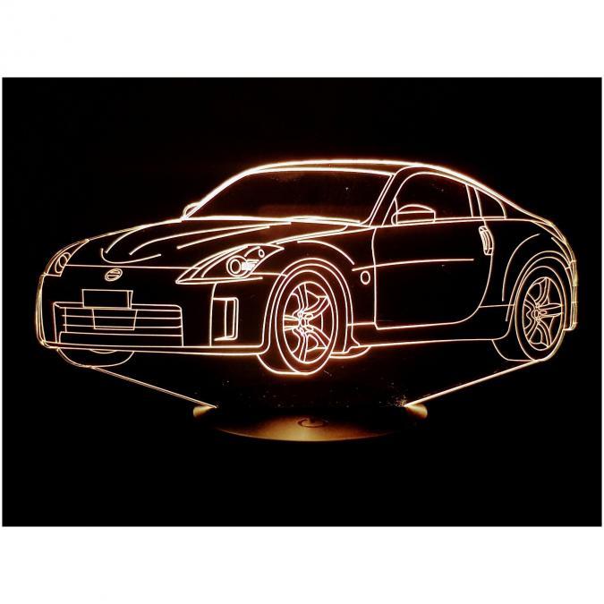 KISSKISSMETAL - NISSAN 350Z - Lampe d'ambiance 3D à leds, gravure laser sur acrylique, alimentation par piles ou câble usb - Lampe d'ambiance
