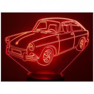 KISSKISSMETAL - VW Volkswagen 1600 TL fastback 1968 - Lampe d'ambiance 3D à led, gravure laser sur acrylique, alimentation par piles ou câble USB - Lampe d'ambiance