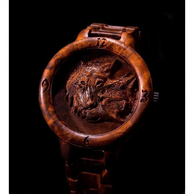 KRISTAN TIME - Montre en bois de loup gravé - Montre