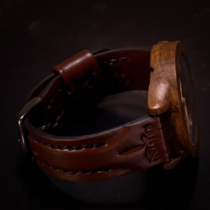 KRISTAN TIME - Montre en bois de Noé noyer pour hommes - Montre