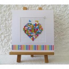 LA CARTERIE DU GECKO - Coeur tétris multicolore - Carte brodée