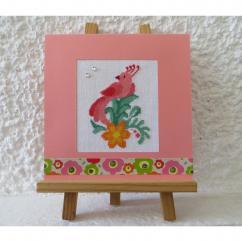 LA CARTERIE DU GECKO - Oiseau-lyre rose - Carte brodée