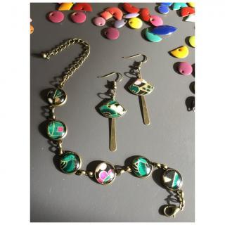 La Pépette - Bracelet multi cabochons et Boucles d'oreilles washi vernis - Bracelet - 4668