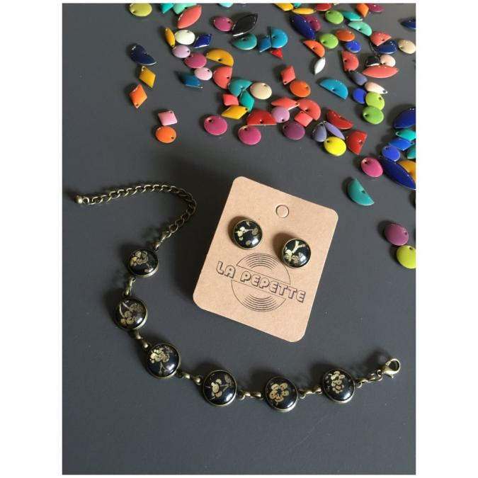 La Pépette - Bracelet multi cabochons et Puces assorties - Bracelet - 4668