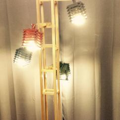 La boite à kdo - Lampe en bois sur pied - Lampadaire - ampoule(s)