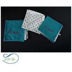 La Fée Milie - Serviette de table brodée personnalisable - Serviette de table - Bleu