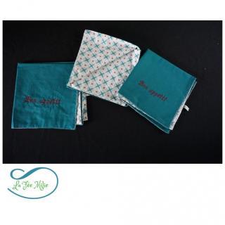 La Fée Milie - Serviette de table brodée personnalisable - Serviette de table - Bleu