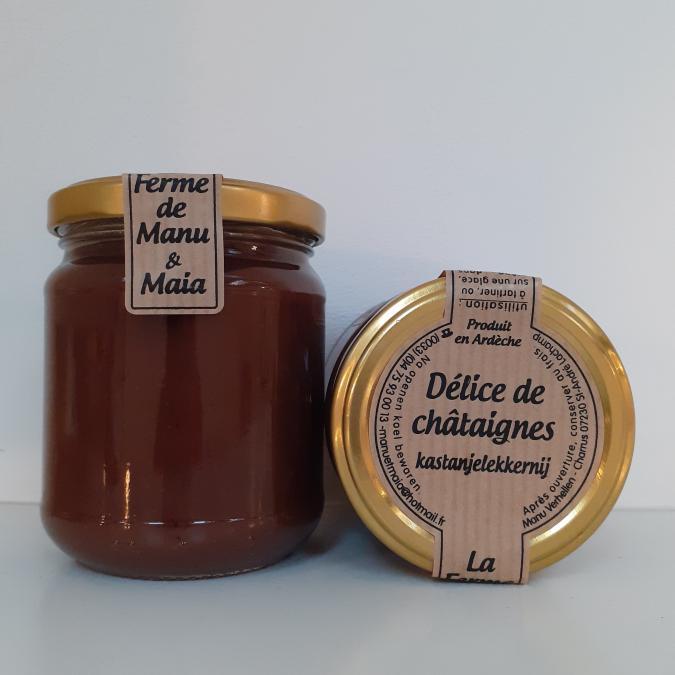 La ferme de Manu et Maia - Délice de châtaignes BIO (choco-noisette) - Confiture Artisanale