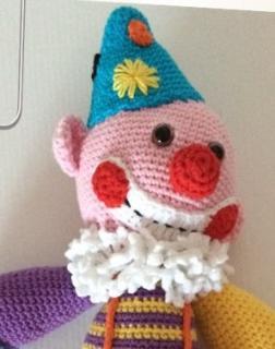 Larcencieldeghis - Peluche doudou Objet de décoration Le Clown Patoche, Amigurumi au crochet, fait main, - Peluche - 0 à 12 mois