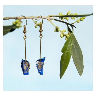 Bijoux l'Art de recycler - Boucles d'oreilles tiges - Boucles d'oreille - verre bleu marine, brisures de feuille d'or